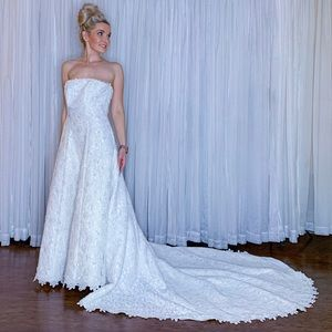 White Lace Wedding Dress with Long Train